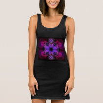 Jersey Tank Dress - Geometric Black and Pink Print