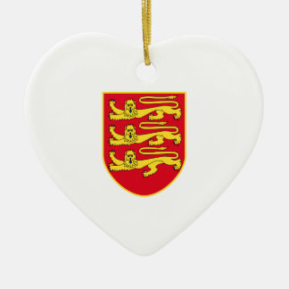 Jersey (UK) Coat of Arms Double-Sided Heart Ceramic Christmas Ornament