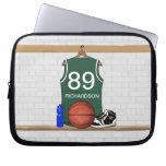 Jersey verde personalizado del baloncesto funda computadora