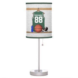 Jersey verde personalizado del baloncesto lámpara de mesilla de noche