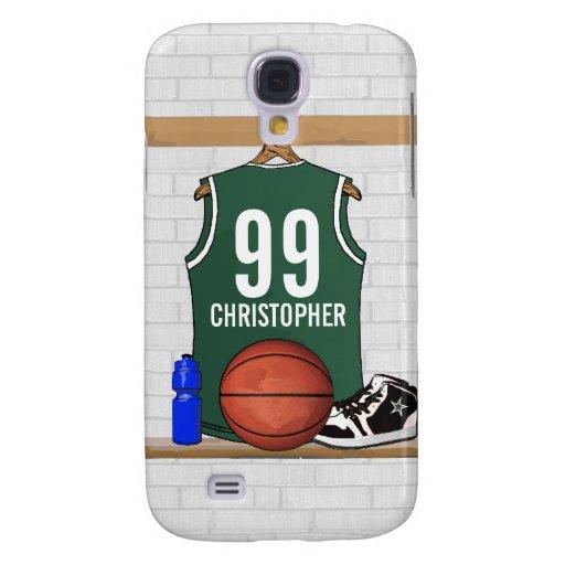 Jersey verde y blanco personalizado del baloncesto carcasa para galaxy s4