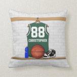 Jersey verde y blanco personalizado del baloncesto cojines