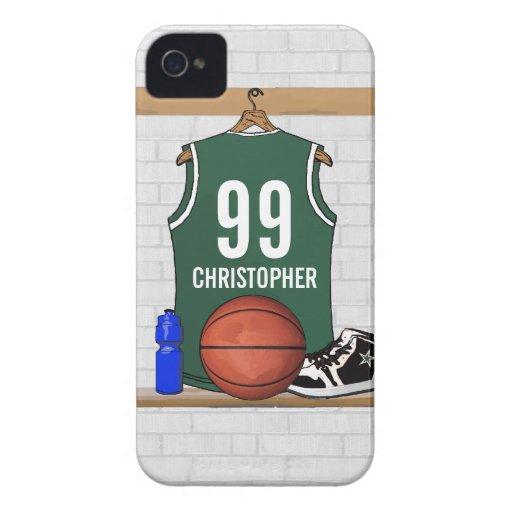 Jersey verde y blanco personalizado del baloncesto Case-Mate iPhone 4 cárcasas