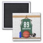 Jersey verde y blanco personalizado del baloncesto imanes de nevera