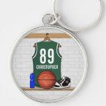 Jersey verde y blanco personalizado del baloncesto llaveros