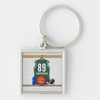 Jersey verde y blanco personalizado del baloncesto llavero cuadrado plateado