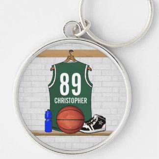 Jersey verde y blanco personalizado del baloncesto llavero redondo plateado