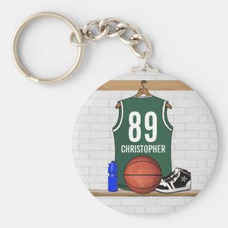 Jersey verde y blanco personalizado del baloncesto llavero redondo tipo pin