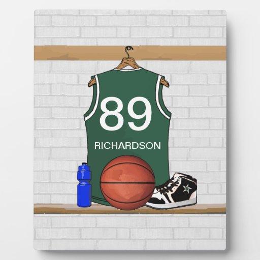 Jersey verde y blanco personalizado del baloncesto placa para mostrar