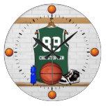 Jersey verde y blanco personalizado del baloncesto relojes de pared
