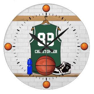 Jersey verde y blanco personalizado del baloncesto reloj redondo grande
