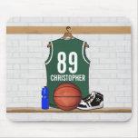 Jersey verde y blanco personalizado del baloncesto tapete de ratones