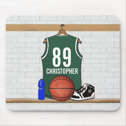 Jersey verde y blanco personalizado del baloncesto tapetes de raton