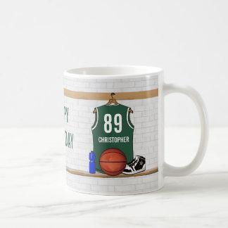Jersey verde y blanco personalizado del baloncesto taza