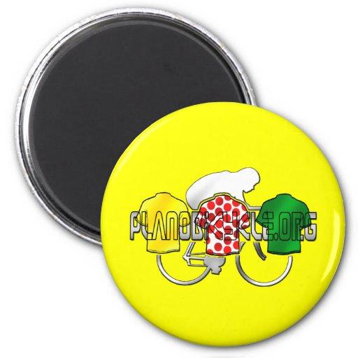Jerseys de ciclo lunar del verde amarillo y del ro imanes