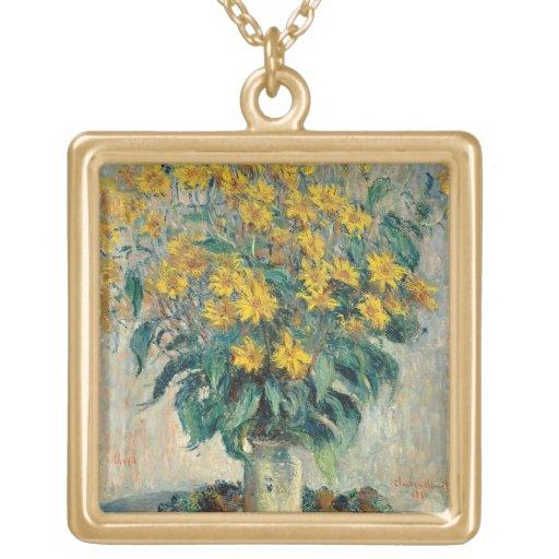Jerusalem Artichoke Flowers, 1880 (oil on canvas) Personalized Necklace