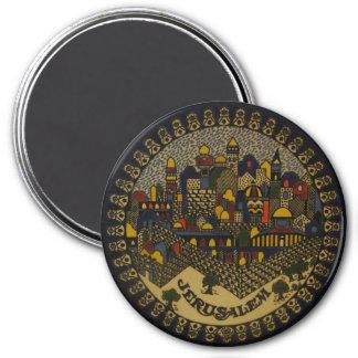 Jerusalem Ceramic 3 Inch Round Magnet
