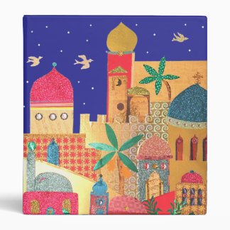 Jerusalem City Colorful Art 3 Ring Binder