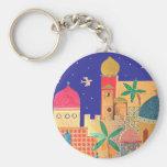 Jerusalem City Colorful Art Basic Round Button Keychain
