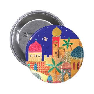 Jerusalem City Colorful Art Button