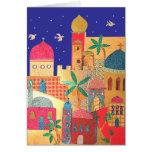 Jerusalem City Colorful Art Card