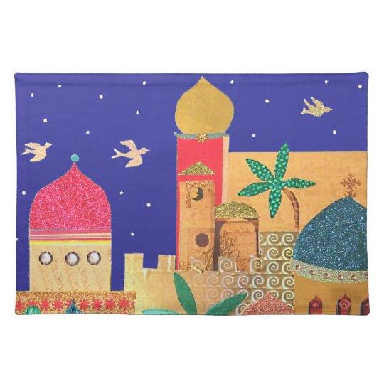 Jerusalem City Colorful Art Cloth Placemat