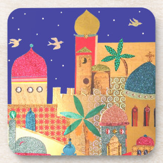 Jerusalem City Colorful Art Coaster