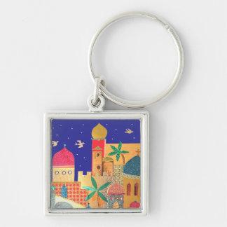 Jerusalem City Colorful Art Keychain