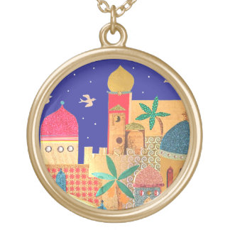 Jerusalem City Colorful Art Necklaces
