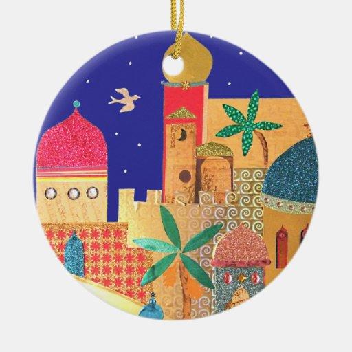 Jerusalem City Colorful Art Christmas Tree Ornaments