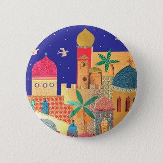 Jerusalem City Colorful Art Pinback Button