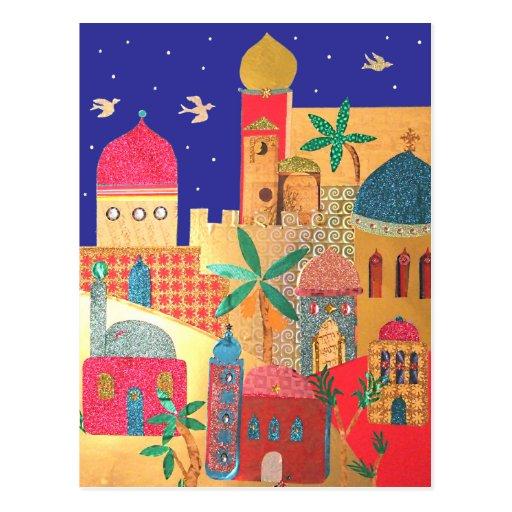 Jerusalem City Colorful Art Postcard