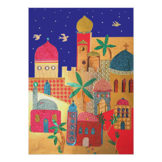 Jerusalem City Colorful Art Poster