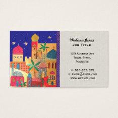 Jerusalem City Colorful Middle Eastern Art Business Card at Zazzle