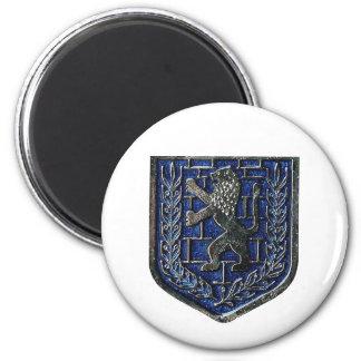 Jerusalem Crest Blue 2 Inch Round Magnet