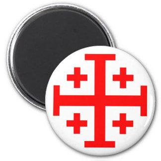 Jerusalem Cross 2 Inch Round Magnet