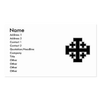 Jerusalem Cross Black Double-Sided Standard Business Cards (Pack Of 100)