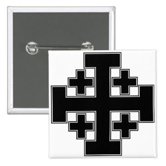 Jerusalem Cross Black 2 Inch Square Button