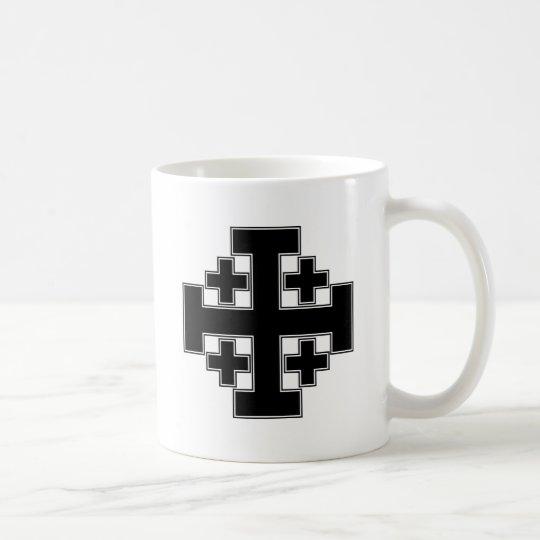 Jerusalem Cross Black Coffee Mug