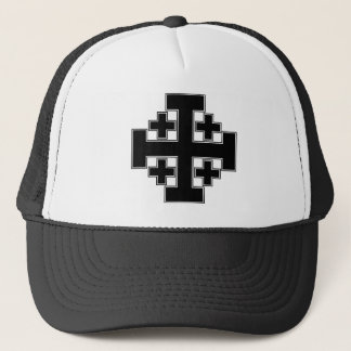 Jerusalem Cross Black Trucker Hat