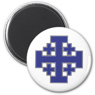 Jerusalem Cross Blue 2 Inch Round Magnet