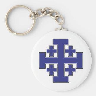 Jerusalem Cross Blue Basic Round Button Keychain