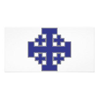 Jerusalem Cross Blue Photo Card Template