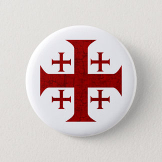 Jerusalem Cross, Distressed Button