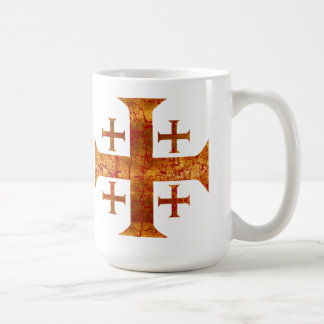 Jerusalem Cross, Distressed Coffee Mug