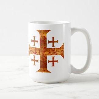 Jerusalem Cross, Distressed Coffee Mug