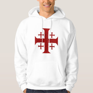 Jerusalem Cross, Distressed Hoodie