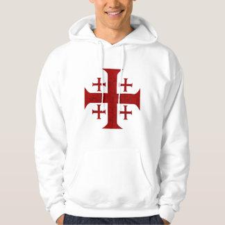 Jerusalem Cross, Distressed Hoodie