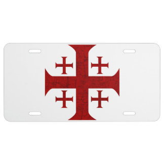 Jerusalem Cross, Distressed License Plate