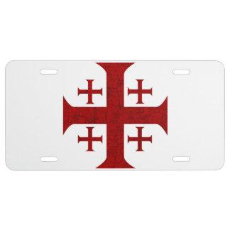 Jerusalem Cross, Distressed License Plate
